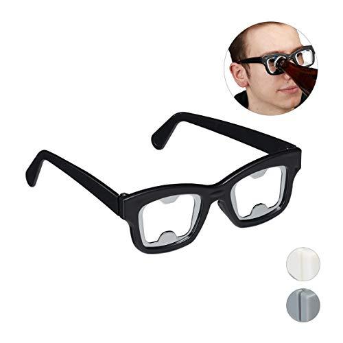Relaxdays 10027764_46 Flaschenöffner Brille, Partybrille mit Bieröffner, Nerdbrille, Fasching, Trinkspiel, 4,5x14x14,5 cm, schwarz, Unisex– Erwachsene