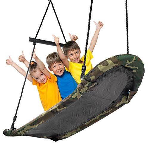 COSTWAY Nestschaukel Baumschaukel 100-160cm verstellbaren Seil, Hängeschaukel 150kg Tragkraft, Mehrkindschaukel Gartenschaukel für Kinder & Erwachsene 123x45cm (Tarngrün)
