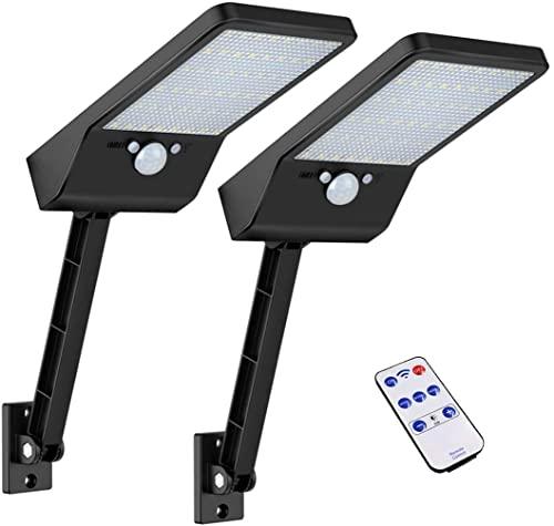 Luces solares al aire libre, Super brillante 48 LEDs, IP65 impermeable con control remoto, luces solares del sensor de...