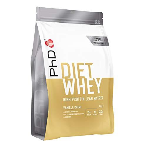 PhD Proteína de Suero Nutricional para Dieta en Polvo Bajo en Calorías, Sustituto de Comidas Rico en Proteínas Bajo en Azúcar con Fibra para Batidos de Adelgazamiento, Sabor Crema de Vainilla (1kg)
