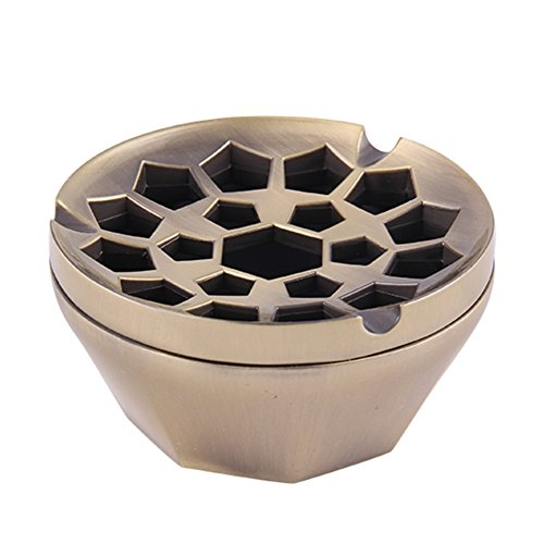 Honoro Unique Windproof Ashtray with Lid,Metal Honeycomb Cigarettes Ashtray for Indoor Outdoor...