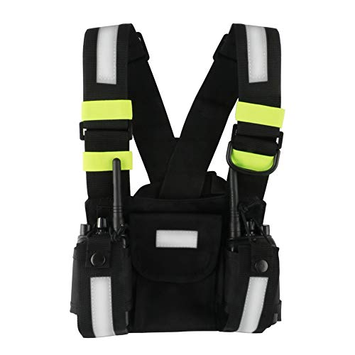 Fluorescent 2 Way Radios Harness Chest Case with Front Pouches and Zipper Bag for Universal Walkie Talkies Accessories(Green)