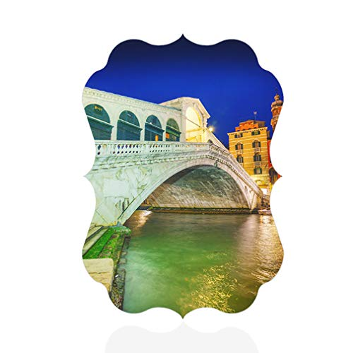"Sign Destination Aluminum Metal Wall Decor Rialto Bridge in Venice Italy Vertical Photo Print Wall Art - Benelux Shape, 12""x18"""