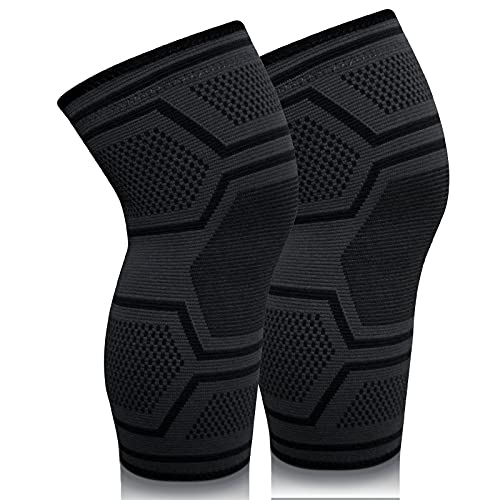 RESLTALY Knee Brace,2 Pack Compression Sleeve Support, Elastic and Breathable Knee Braces Basketball/Weightlifting/Compression Running Knee Cover/Tendinitis Knee Sleeve Knee Joint Pain and Recovery