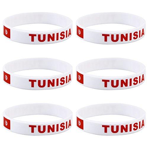 LUOEM Silikon Armbänder WM Flagge Fahne Tunesien Land Armband Fanartikel Fussball 2018 WM 6 Stücke Tunisia