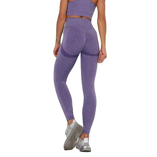 SUIYI Temporada de Verano Yoga Pantalones Púrpura Pantalones Yoga Cintura Alta Leggings Yoga Pantalon para Mujer Slim Fit Fitness Gym Pantalones