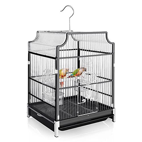 Blue Mars 18 Inch Large Bird Cage. Portable&Hanging Wrought Iron Big Bird Travel Carrier for Medium...