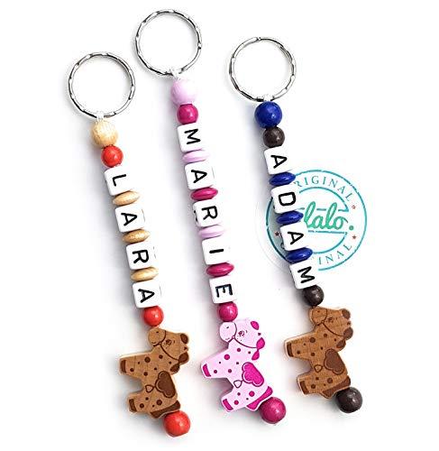 LALALO Pferd/Pony Schlüsselanhänger mit Namen Gravur - Geschenk Anhänger und Namenskette für den Rucksack, Wickeltasche, Kindergartentasche, Schulranzen, Schlüsselbund - mit Schlüsselring (Rosa)