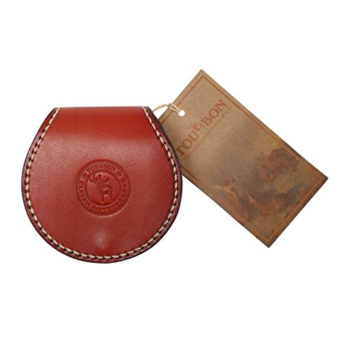 Tourbon Small Round Coin Purse Genuine Leahter Earplug Key Holder (Brown (Handmade Sewing with Belt Loop))