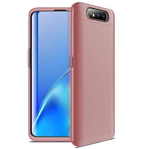 yanzi Funda Samsung Galaxy A80 Funda Carcasa Silicona Cover Caso Samsung Galaxy A80 Fundas Oro Rosa 3 in 1 Smartphones Accesorios Vidrio Templado Protector Samsung A80 Carcasa