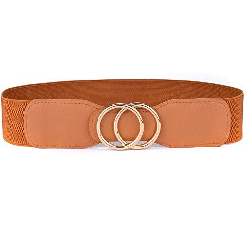 DSJTCH Cinturones de Cintura Ancha elástica de la Faja de Las Mujeres Cinturones de Cintura Ancha Doble Anillos Cummerbunds Señoras (Belt Length : 70cm to 90cm, Color : OO kou Gold Brown)