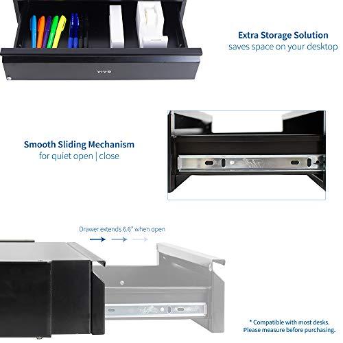 VIVO Black 18 inch Office Mounted Sliding Under Desk Pull-Out Drawer, Storage Organizer for Sit to Stand Workstation, DESK-AC03B