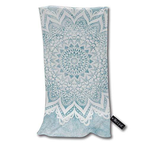 Vilico - Toalla de baño pequeña superabsorbente con diseño de mandala azul claro, ultra suave, toallas de mano multiusos para baño, piscina, gimnasio y spa, 30,5 x 27,5 cm