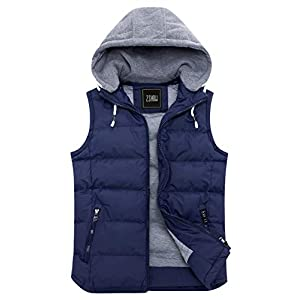 Men's Winter Removable Hooded Padded Puffer Vest
