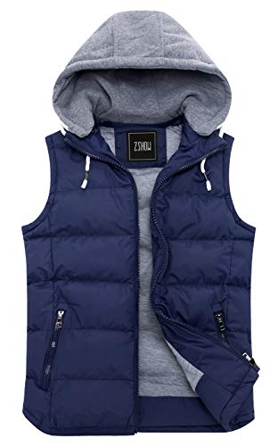 ZSHOW Men's Winter Removable Hooded Cotton-Padded Vest Outerwear Jackets(Blue,X-Large)