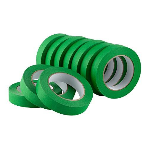 LICHAMP 10 Pack Green Painters Tape 1 inch, Medium Adhesive Green Masking Tape Bulk Multi Pack, 1 inch x 55 Yards x 10 Rolls (550 Total Yards)