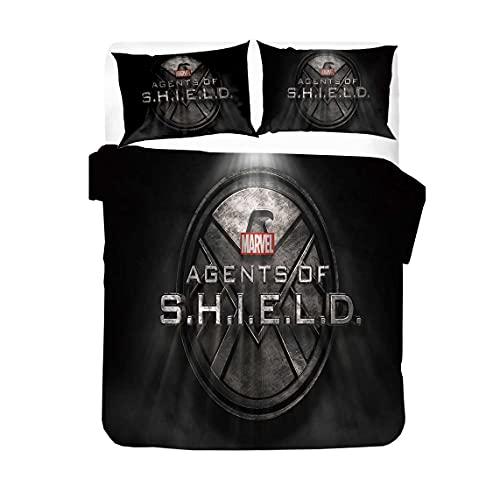 Agents of S.H.I.E.L.D. - Set copripiumino per adulti, motivo: simbolo del film HD, con stampa HD, super morbido (S.H.I.E.L.D.3, 135 x 200 cm + 80 x 80 cm x 2)