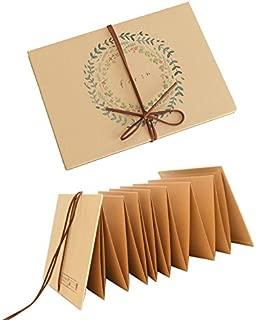 Duolaisu DIY Handmade Cloth Hardcover Kraft Paper Retro Accordion Style Photo Album 8.5x4.5Inch Holds 4 x 6Inch Photos,One Self-adhesive Photo Corners