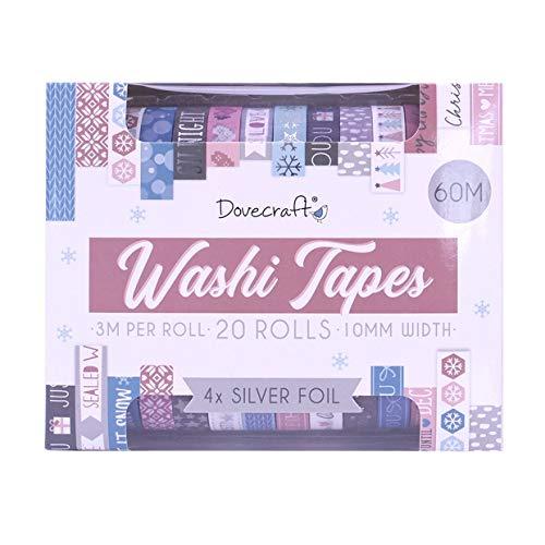 Dovecraft Kerst Washi Tape Box-20 Ontwerpen – Fashion-10mm Breedte-3m Rolls-Inclusief Opbergdoos voor Ambacht, Kantoor, Journaling, Home Decor, Papier, Multi kleuren, Multi-Colour, One Size