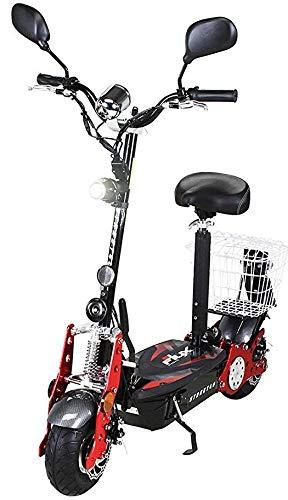 eFlux Street 40 Elektroroller Scooter - 800 Watt Motor - Scheibenbremsen - LED Scheinwerfer - Straßenzulassung (Schwarz)