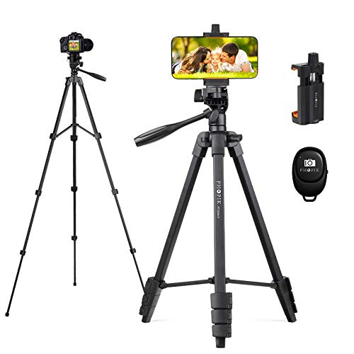 PHOPIK Phone Tripod 55 inches, Aluminum Travel/Camera/Mobile Phone Tripod with Carrying Bag with a Maximum Load of 6.6 pounds, Remote Shutter, Compatible with Smartphone & Tablet & Camera.