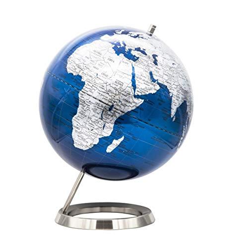 EXERZ 30cm Globus Metallisches Blau mit einem Rostfreier Stahl in Englischer Sprache - Verpackung in hochwertiger Kraftbox, ideal zum Verschenken (Durchmesser 30cm Blau)