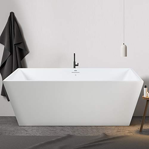 FerdY Palawan 59'x30' Acrylic Freestanding Bathtub, Straight Contemporary Soaking Bathtub with Brushed Nickel Drain, Integrated Slotted Overflow, Glossy White, cUPC Certified, 02532