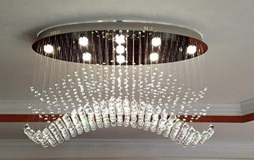 NOXARTE Modern Wave Chandelier Raindrop Crystal Ceiling Light for Kitchen Island Living Room Length 40'