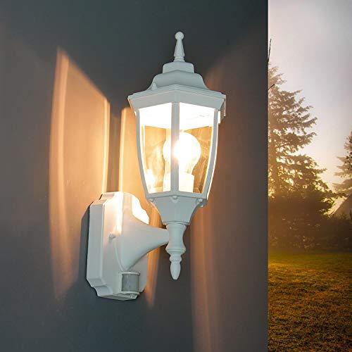 Witte buitenlamp met bewegingsmelder E27 IP44 H: 42cm sensor wandlamp buiten terras entree binnenplaats
