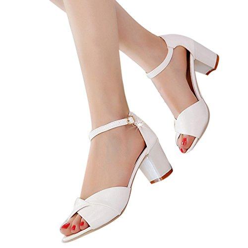Mujer Peep-Toe Zapatos De Tacón Ancho Medio De Color Solido Elegante Sandalias De Vestir De Boda Fiesta Calzado Zapatillas Correa De Tobillo Hebilla De Baile De Verano Primavera