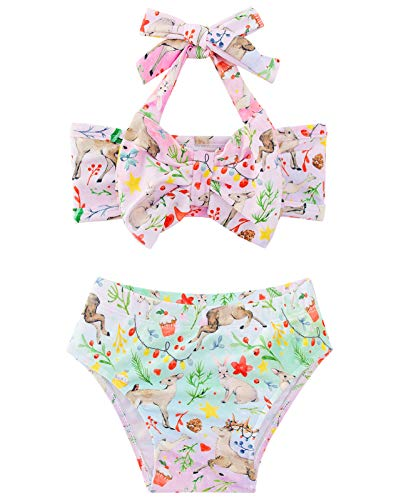 Baby Girls Cartoon Deer Swimsuits 3-6 Months for Toddlers Rashguard Halter Tube Top and Ruffle Bottoms Two Piece Bathing Suits Elastic Colorful Flower Animal Graphic Beach Sunsuit Swim Summer Outfits