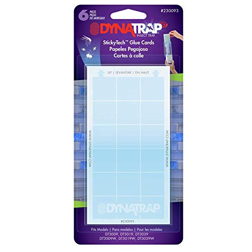 DynaTrap 230093 Indoor, DT3019, and DT3039 StickyTech Glue Cards for Flylight Insect Trap Models DT3009, 6 Count, Plain
