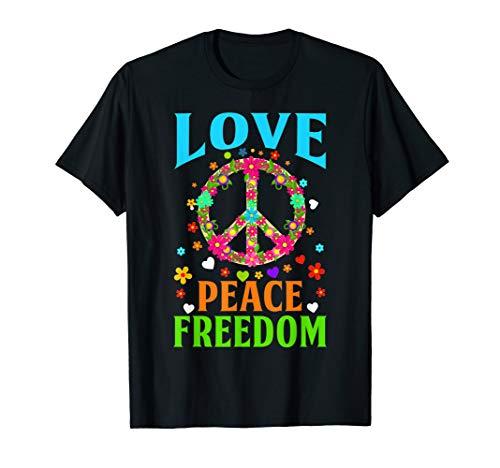 Love Peace 60er 70er 50er Jahre Hippie-Kostüm T-Shirt