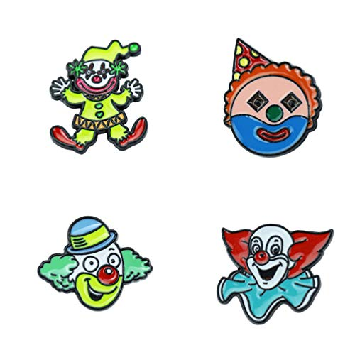 Amosfun 4 stks Circus Clown Emaille Lapel Pins Broches Pins Carnaval Circus Party Favors Geschenken Sieraden