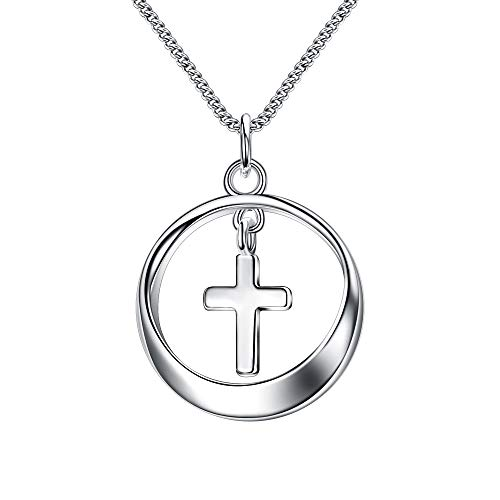 EVER FAITH 925 Sterling Silver Circle Cross Pendant Necklace Birthday Daily Jewelry for Women, Girl