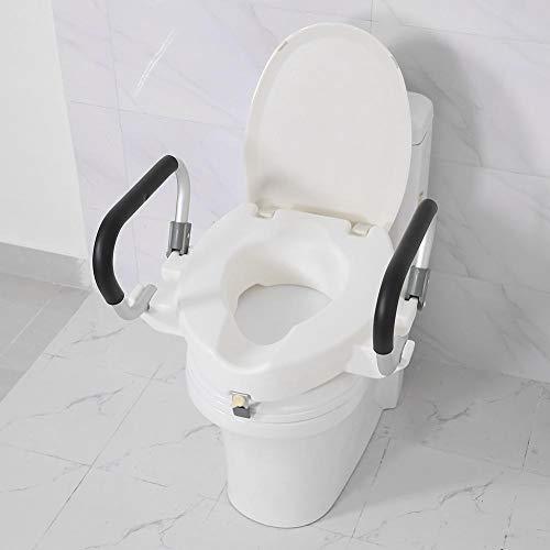 EBTOOLS Weiß 10cm Erhöhter Toilettensitzerhöhung Toilettensitz mit Deckel und Abnehmbarer Stützgriffen, Anzug für Schwangere, ältere und Behinderung, Tragfähigkeit150kg