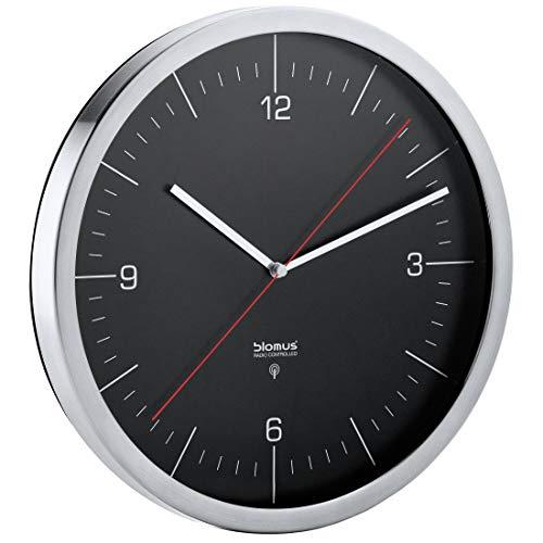 Blomus - Funkuhr - Wanduhr CRONO - Edelstahl matt mit Klarglas - schwarzes Zifferblatt - roter Sekundenzeiger