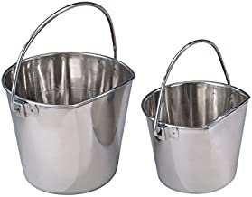 Pro Select Stainless Steel Pet Pail, 1-Quart Size – Heavy Duty Flat Sided Pail Great for Providing Water in Pet Kennels