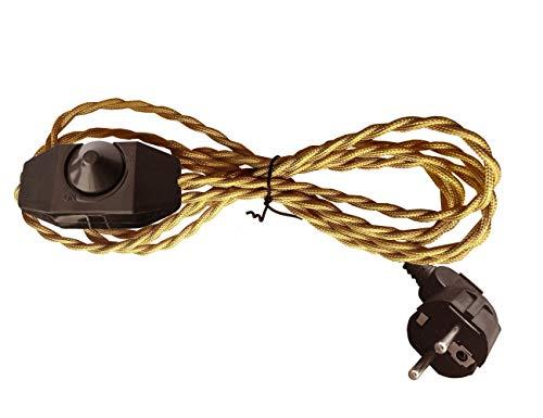 Cable textil de 2 hilos. Cable de lámpara con 1,8 metros de longitud, con regulador de intensidad y enchufe. Excelente para ventilador, lámpara, lámpara de noche