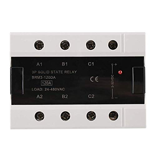 YEESEU Relé de Estado sólido, 24-480VAC 100A / 120A AC AC Control de Tres Fase relé de Estado sólido Accesorios de Repuesto for Smart Equipo Industrial (BRM3-120DA)
