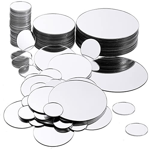 100 Pieces Mini Size Round Mirror Small Round Mirror Adhesive Mirror Round Craft Mirror Tiles for Crafts and DIY Projects Supplies, 1 Inch, 2 Inch, 3 Inch