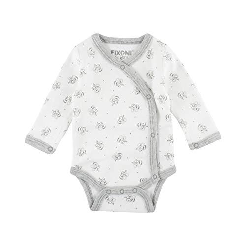 FIXONI LITTLE BEE Le Body Portefeuille pour prématuré à Manches Longues et Motif Abeilles bébé, Naturel