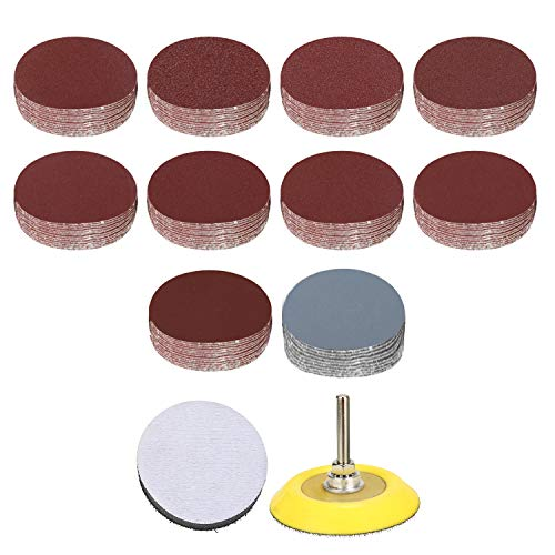 Suny Smiling 300pcs 2 Inches Sanding Discs Pad Kit for Drill Sander, Drill Sanding Attachment Sandpapers with 1pc 1/4'' Shank Backing Pad and 1pc Soft Foam Buffering Pad