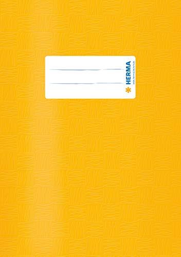 HERMA 7421 Heftumschlag DIN A5 gedeckt mit Baststruktur und Beschriftungsetikett, aus strapazierfähiger und abwischbarer Polypropylen-Folie, 1 Heftschoner für Schulhefte, gelb