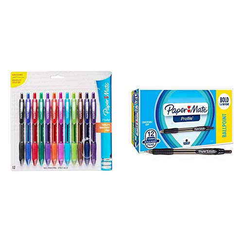 Paper Mate Profile Retractable Ballpoint Pens, Bold (1.4mm), Assorted Colors, 12 Count & Mate 89465 Profile Retractable Ballpoint Pens, Bold (1.4mm), Black, 12 Count (Package May Vary)