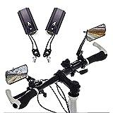 Espejo para bicicleta, 2 espejos retrovisores para manillar ajustable de aleación de aluminio, lente de vidrio HD giratorio 360 para motocicleta eléctrica de bicicleta de carretera de montaña