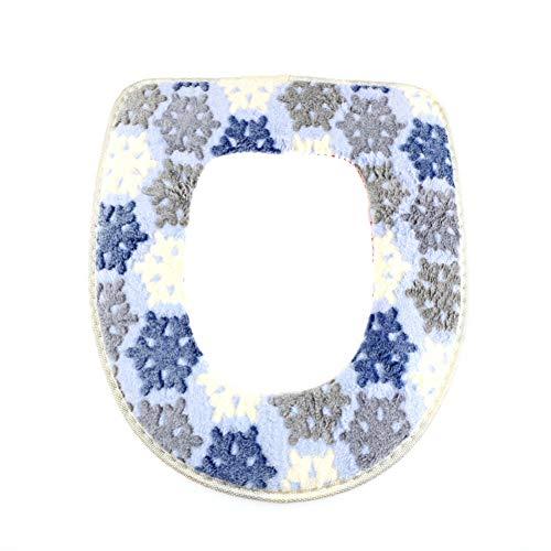 ZHENXIANGA plakkerige toiletmat zachte warme toiletbril verwarmd kastje afwasbaar toiletbril Blauw