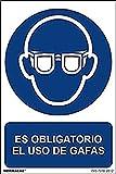 Normaluz RD26602 - Señal Adhesiva Es Obligatorio El Uso de Gafas Adhesivo de Vinilo 10x15 cm