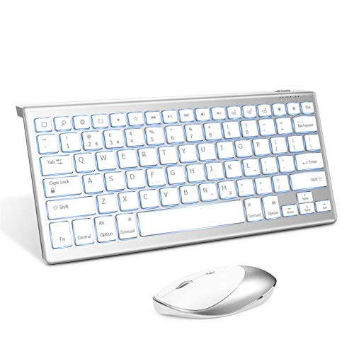 Keyboard and Mouse for iPad, iPhone, Jelly Comb Wireless Bluetooth Backlit Keyboard and Mice for iPad 10.2 2019, 2020, iPad Air 4, iPad Pro 11, 12.9 in, iPhone 8, iPhone 11, ect, White and Silver