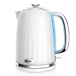 Elegant ridged texture design with a high gloss finish and polished chrome details 3 KW concealed element for rapid boiling; 1.7 Litre capacity makes 6 to 8 cups Rear water window makes accurate filling easy and illuminates on boil Removable, cleanab...